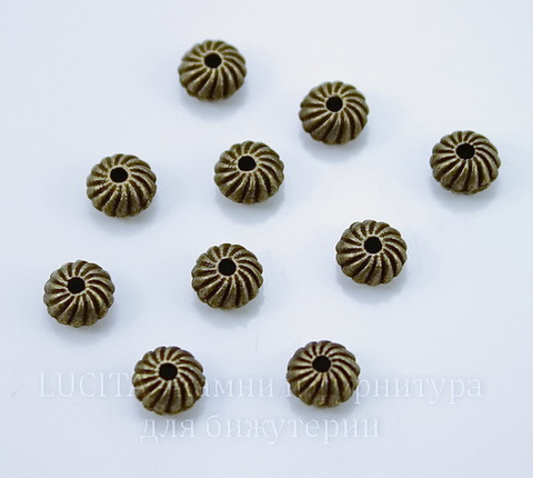 Бусина металлическая - рондель (цвет - античная бронза) 6х4 мм, 10 штук