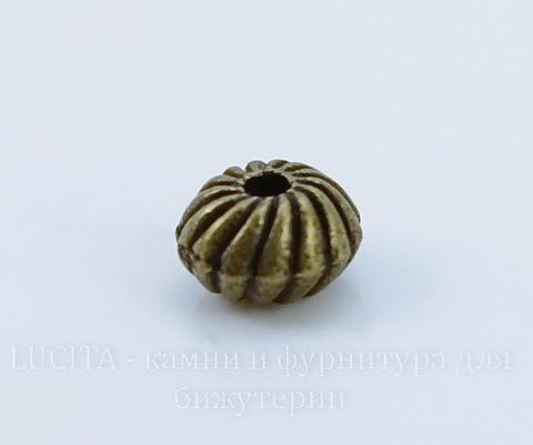 Бусина металлическая - рондель 6х4 мм (цвет - античная бронза), 10 штук