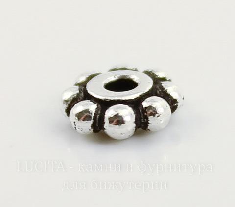 "Бусина - спейсер TierraCast ""Бусинки"" 6х2 мм (цвет-античное серебро)"