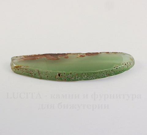 Подвеска Срез Агата (тониров) (цвет - прозрачный серо-зеленый) 80х26х4,9 мм №81