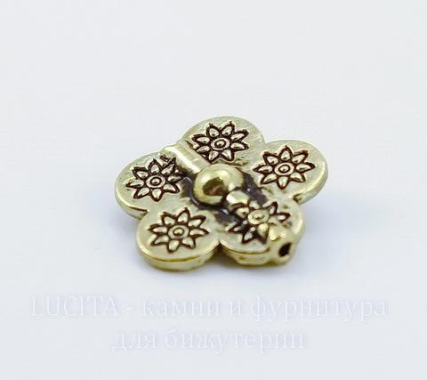 "Бусина металлическая ""Цветок"" (цвет - античное золото) 15х15х5 мм"