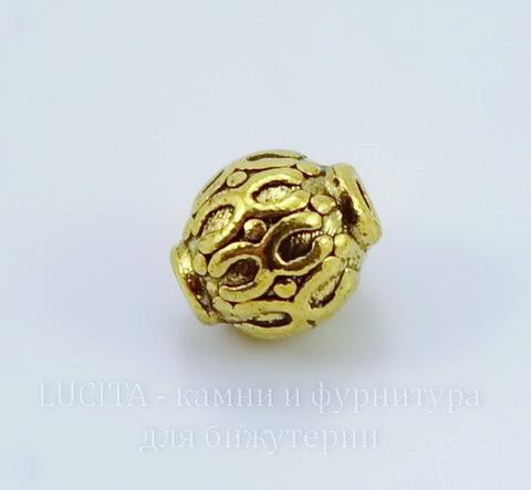 Бусина металлическая с узорами (цвет - античное золото) 6 мм , 10 штук