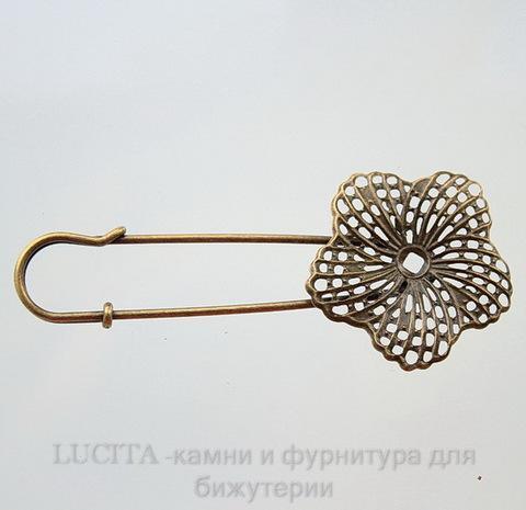 Основа для броши  c филигранным цветком (цвет - бронза) 81,4х34 мм