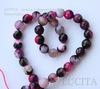 Бусина Агат, шарик с огранкой, цвет - черно-розовый с белым, 10 мм, нить