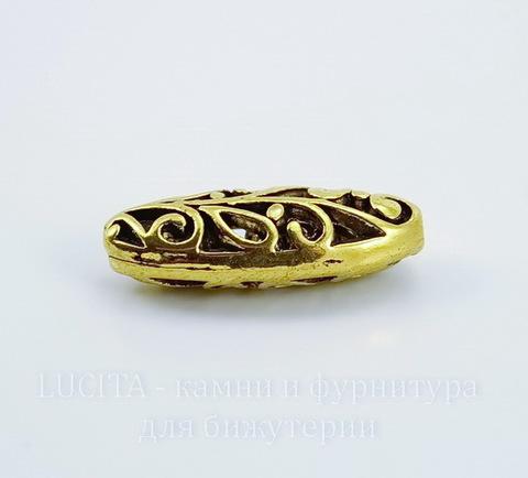 """Бусина металлическая """"Ажурный овал"""" (цвет - античное золото) 23х9 мм"""