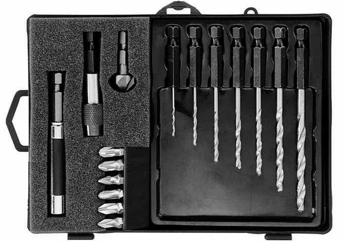 Монтажный набор для работы с древесиной Narex 850200 биты+сверла+зенкер