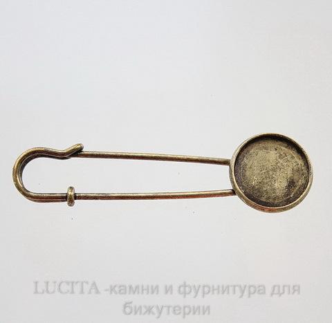 Основа для броши с сеттингом для кабошона 16 мм (цвет - античная бронза) 63,4х13,8 мм