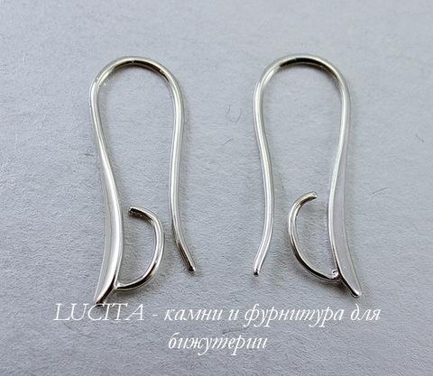 Швензы - крючки длинные с петелькой для подвески, 25х2 мм (цвет - платина), пара