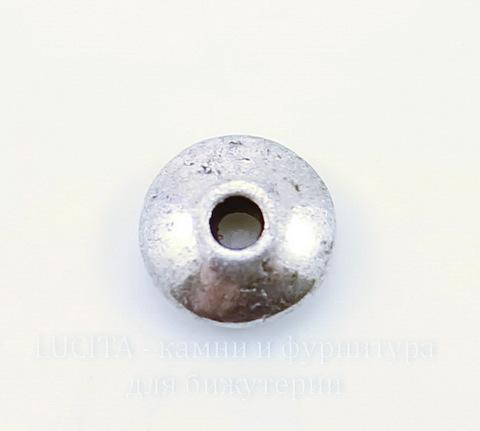 Бусина металлическая - рондель гладкая (цвет - античное серебро) 6х2 мм, 10 штук