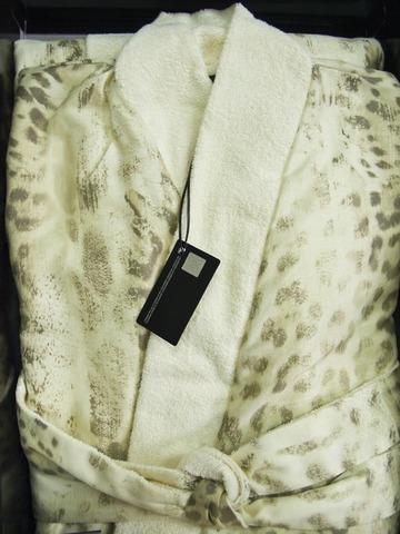 Элитный халат-кимоно сатиновый Jaguar бежевый от Roberto Cavalli