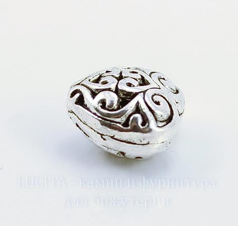 """Бусина металлическая """"Ажурное сердце"""" (цвет - античное серебро) 13х13 мм"""