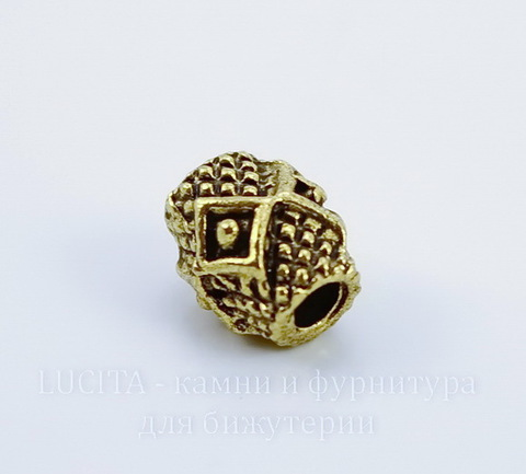 """Бусина металлическая """"Ромбики"""" (цвет - античное золото) 9х7 мм"""