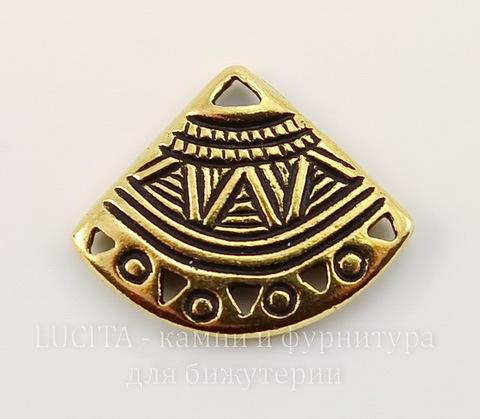 """Коннектор (1-5) TierraCast """"Веер"""" (цвет-античное золото) 18х15 мм"""