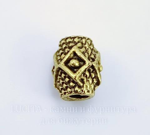 """Бусина металлическая """"Ромбики"""" 9х7 мм (цвет - античное золото)"""