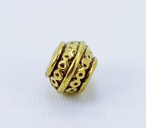 Бусина металлическая с узором (цвет - античное золото) 9х7 мм