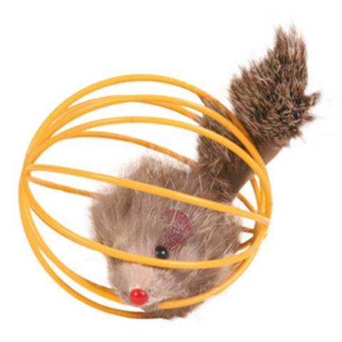 """Trixiе 4115 Набор игрушек д/кошек """"мышь в проволочном шаре"""" ф6cм*24шт"""
