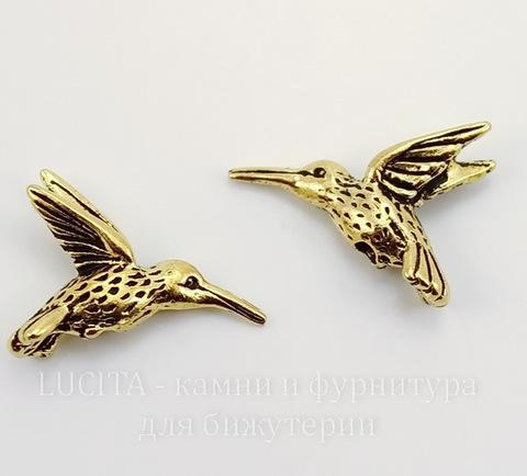 "Бусина TierraCast ""Колибри"" 19х13 мм (цвет-античное золото)"