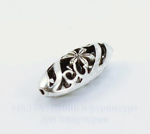 """Бусина металлическая """"Ажурный цветок"""" (цвет - античное серебро) 23х10 мм ()"""