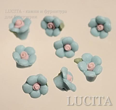 """Бусина фарфоровая ручной работы,""""Голубой цветочек"""" 10х8 мм , 5 штук ()"""