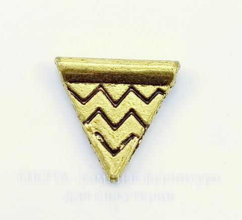 """Бусина металлическая """"Треугольник"""" (цвет - античное золото) 14х14 мм, 10 штук"""