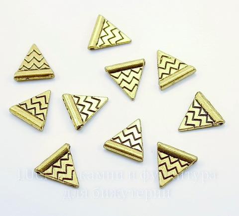 """Бусина металлическая """"Треугольник"""" 14х14 мм (цвет - античное золото), 10 штук"""