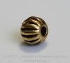 Бусина металлическая, шарик с узором (цвет - античное золото) 6 мм , 10 штук