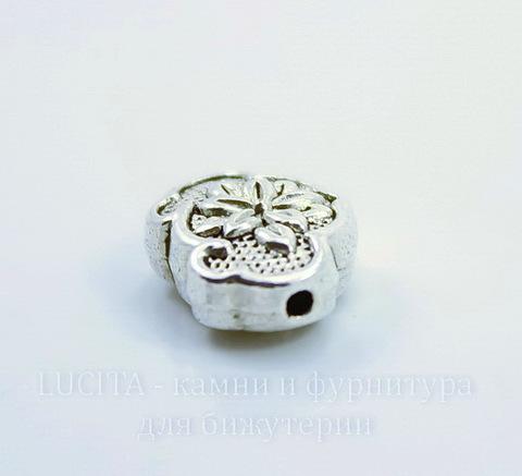 """Бусина металлическая """"Королевский цветок"""" (цвет - античное серебро) 13х10 мм"""