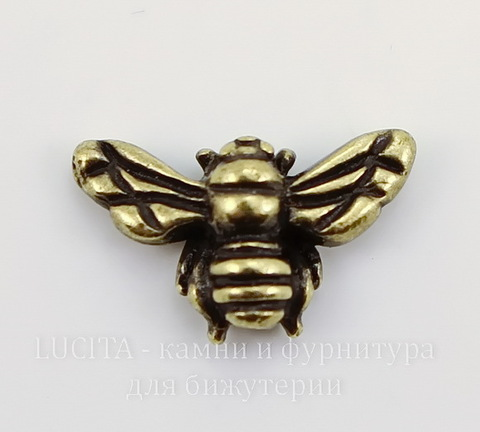 "Бусина TierraCast ""Пчела"" (цвет-античная латунь) 15х9 мм"