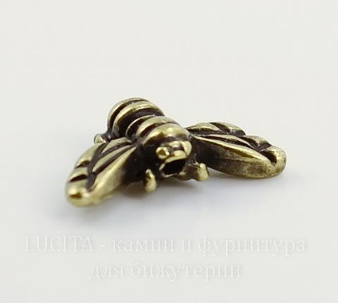 "Бусина TierraCast ""Пчела"" 15х9 мм (цвет-античная латунь)"