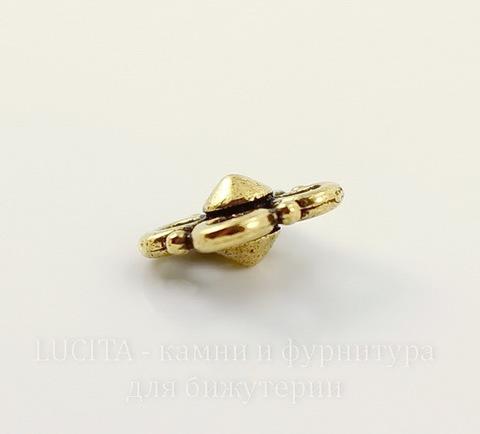 """Коннектор TierraCast """"Клевер"""" (2-2) 8х8 мм (цвет-античное золото)"""