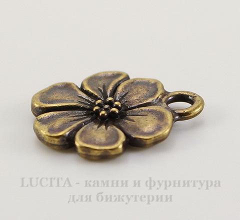 """Подвеска TierraCast """"Цветок"""" (цвет-античная латунь) 17х14 мм"""