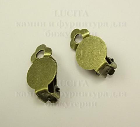 Основы для клипс с площадкой 12 мм, 18х12 мм (цвет - античная бронза), пара ()