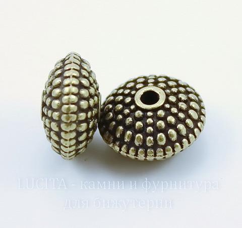 Бусина металлическая - рондель (цвет - античная бронза) 12х6 мм