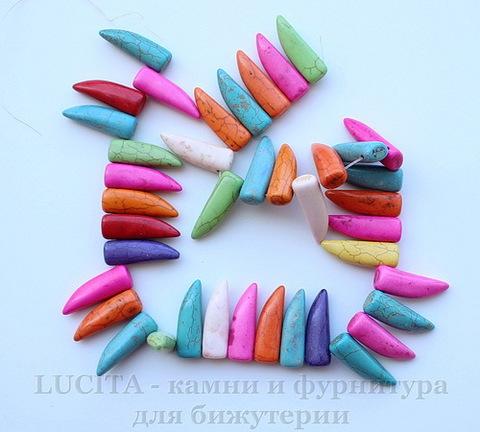 """Бусина Бирюза (искусств, тониров), """"Клык"""", цвет - микс, 30х10х8 мм, нить"""