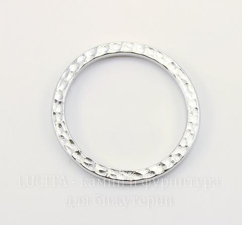 "Коннектор - кольцо TierraCast ""Hammertone"" (цвет-платина) 25 мм"