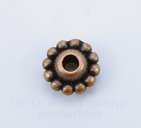Бусина металлическая 9х5 мм (цвет - античная медь), 10 штук