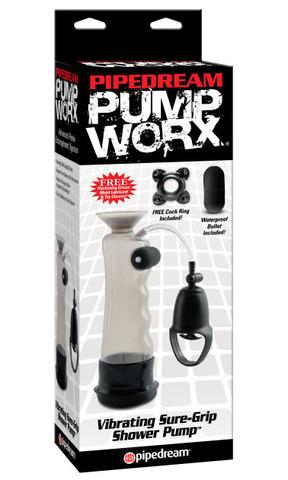 Мужская вакуумная помпа для увеличения члена с вибрацией водонепроницаемая (6 х 18 см)