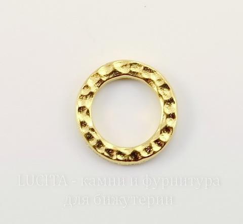 """Коннектор - кольцо TierraCast """"Hammertone"""" (цвет-золото) 13 мм"""