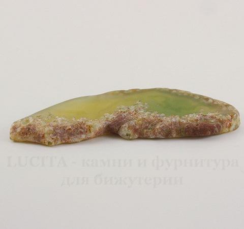 Подвеска Срез Агата (тониров) (цвет - прозрачный зеленый) 67х24х5,1 мм №47