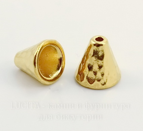 "Шапочка - конус для бусины TierraCast ""Hammertone"" 8,5х8 мм (цвет-золото)"
