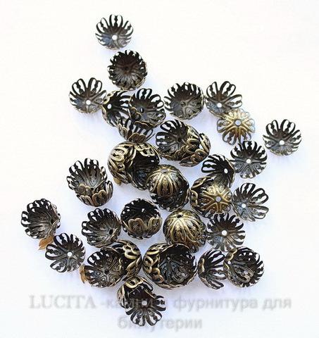 Шапочка для бусины ажурная (цвет - античная бронза) 13х5 мм, 10 штук