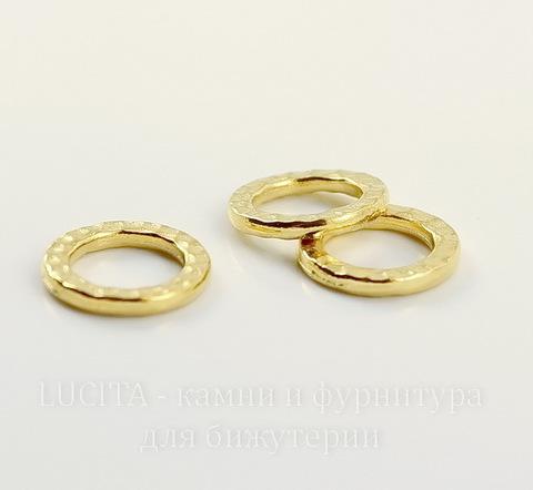 """Коннектор - кольцо TierraCast """"Hammertone"""" 13 мм (цвет-золото)"""