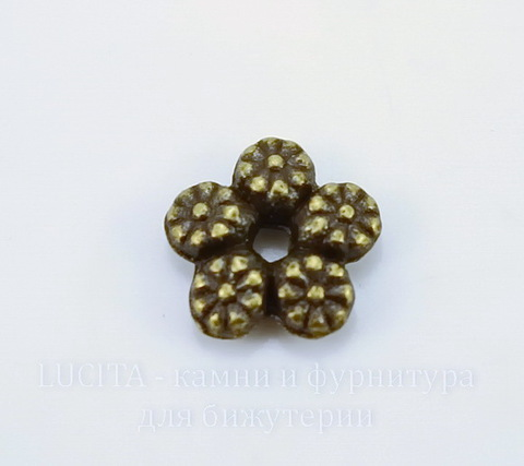 """Бусина металлическая - спейсер """"Цветы"""" 7 мм (цвет - античная бронза), 10 штук"""