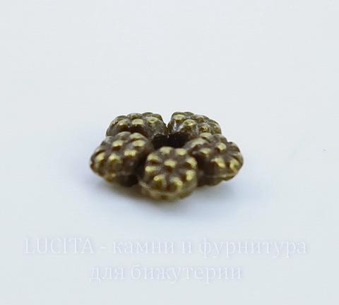 """Бусина металлическая """"Цветы"""" (цвет - античная бронза) 7 мм, 10 штук"""
