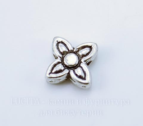 """Бусина металлическая """"Цветочек"""" (цвет - античное серебро) 9х9 мм, 10 штук ()"""