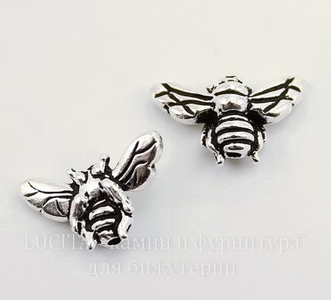 "Бусина TierraCast ""Пчела"" 15х9 мм (цвет-античное серебро)"