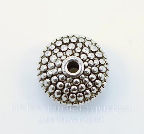Бусина металлическая - рондель (цвет - античное серебро) 12х6 мм