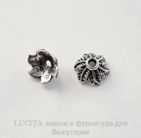 """Шапочка для бусины """"6 листиков"""" (цвет - античное серебро) 11х5 мм, 10 штук"""