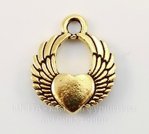 """Подвеска TierraCast """"Крылатое сердце"""" (цвет-античное золото) 18х15 мм"""