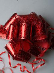 Бант-шар голография (красный) с каймой 50x160 большой